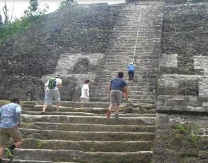 Climbing the Lamanai Ruins