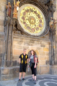 With Gaelle in front of the old clock tower.